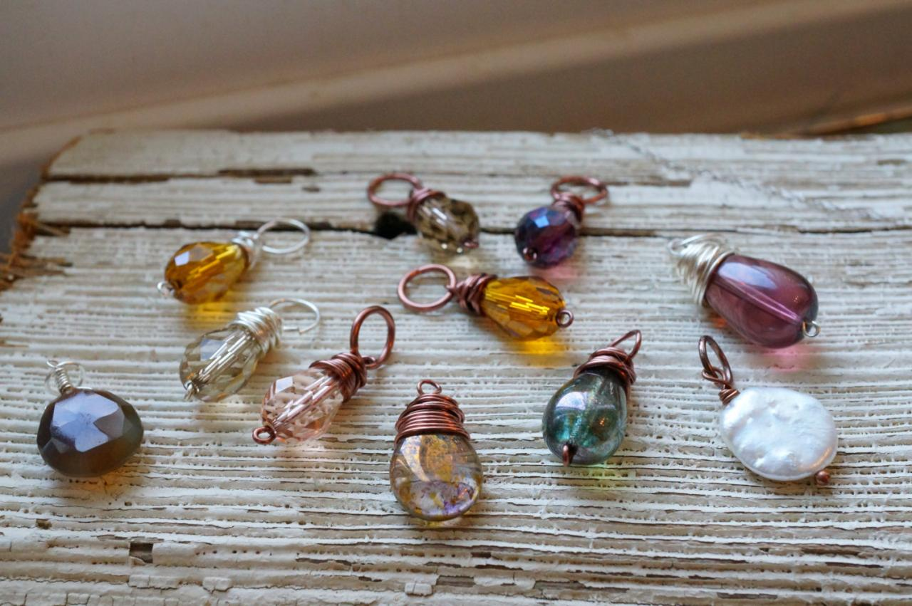 Add On Pendants, Czech Glass Pendant, Wire Wrapped Pendant, Pearl ...