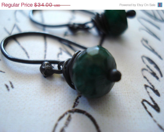 ON SALE Emerald Earring- Emerald green earring- Emerald green jewelry- Wire wrapped jewelry handmade- EBsJewels