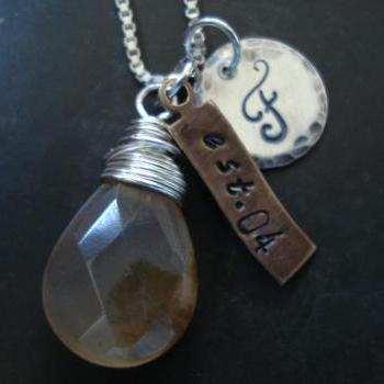 Customized necklace, Personalized jewelry, Charms, monogrammed initial charm, wire wrapped gem stone, Wedding date charm.