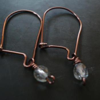 Copper handmade dangle earrings