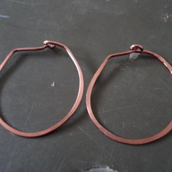 Copper hand made hoop earrings